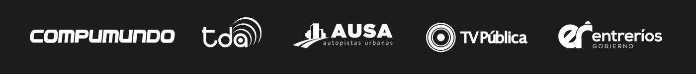 Nuestros clientes: Compumundo, tda, Ausa, TV Pública, Gobierno de Entre Ríos